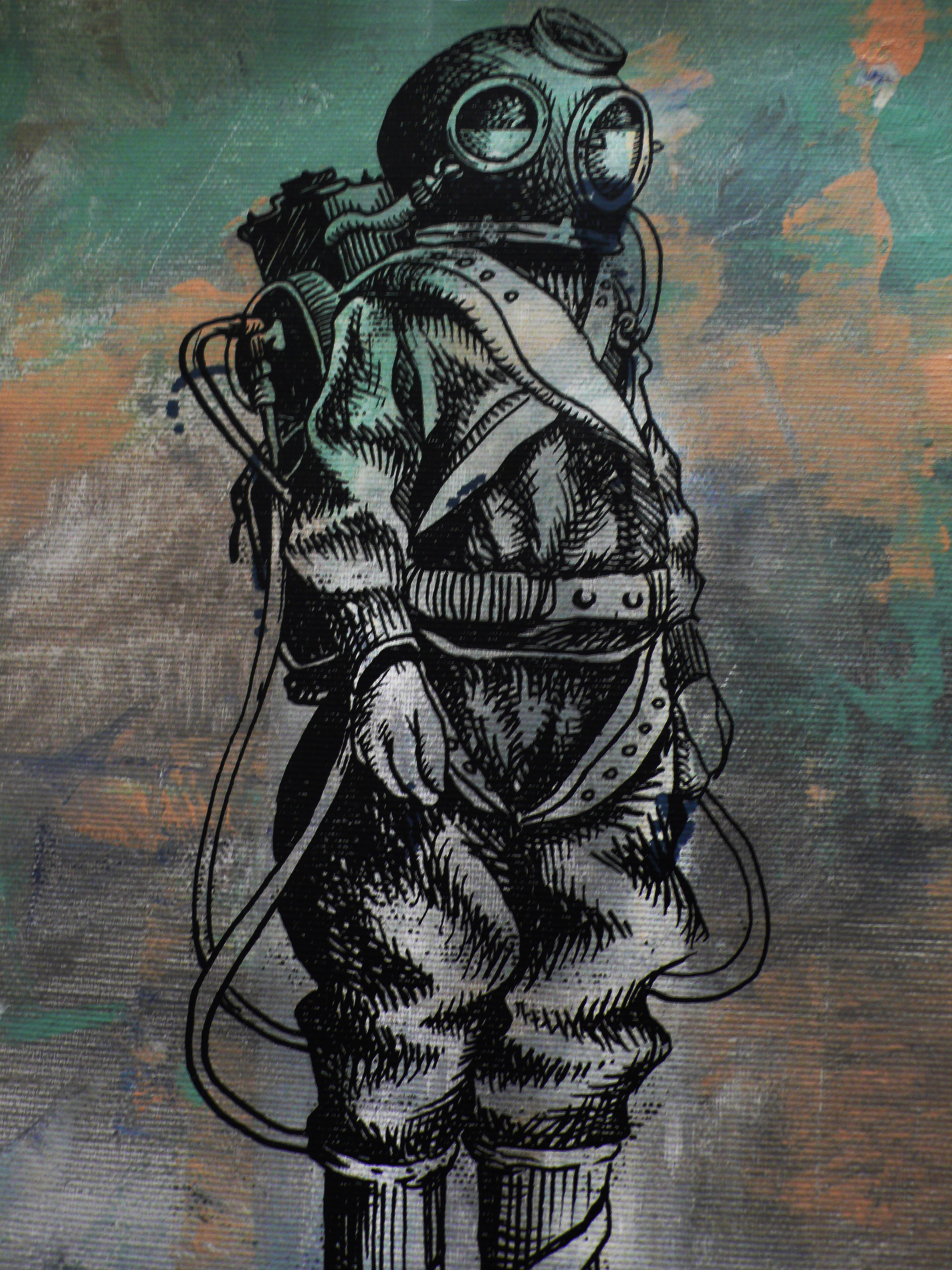 silk-screen-print on painted canvas, 2015